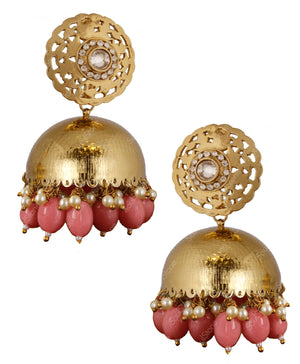 Embossed Peach Jhumka