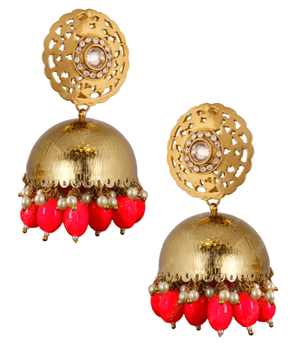 Embossed Red Jhumka