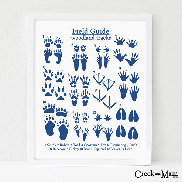 printable woodland nursery art, animal tracks, navy blue