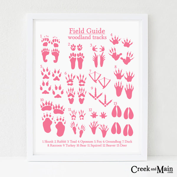 woodland nursery art, animal tracks poster, pink