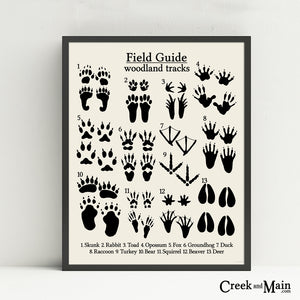printable animal tracks poster, nursery decor, black