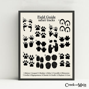 safari animal tracks poster, nursery decor