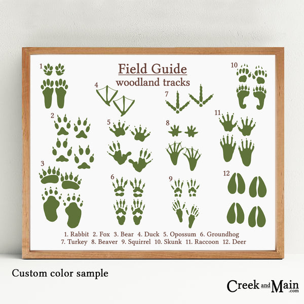 woodland animal tracks, kids nursery art, customize your colors