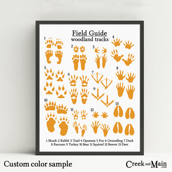 Animal tracks poster, printable woodland wall art