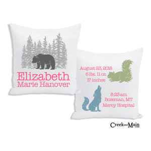 Bear birth stat pillow, woodland nursery decor