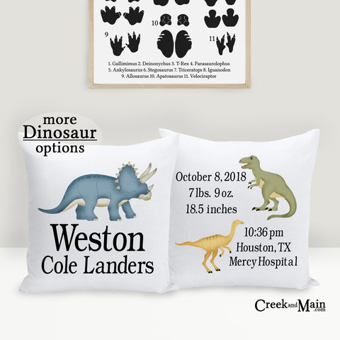 birth stat baby pillow, dinosaur nursery