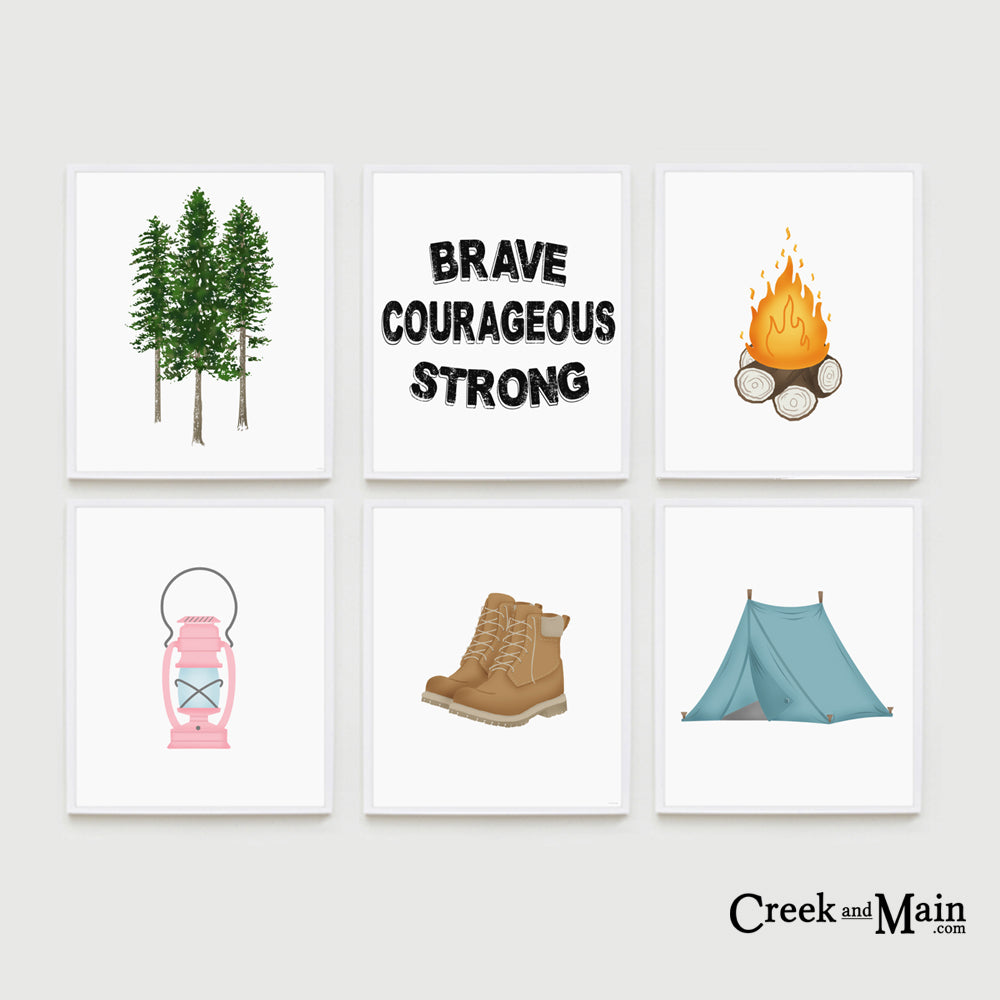 girl camping wall art, nursery woodland decor, pink