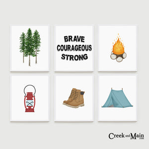 Camping nursery art, woodland decor