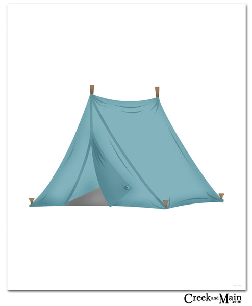 camping wall art, tent, kids nursery wall art,
