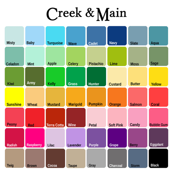 CreekAndMain.com color chart, nursery art