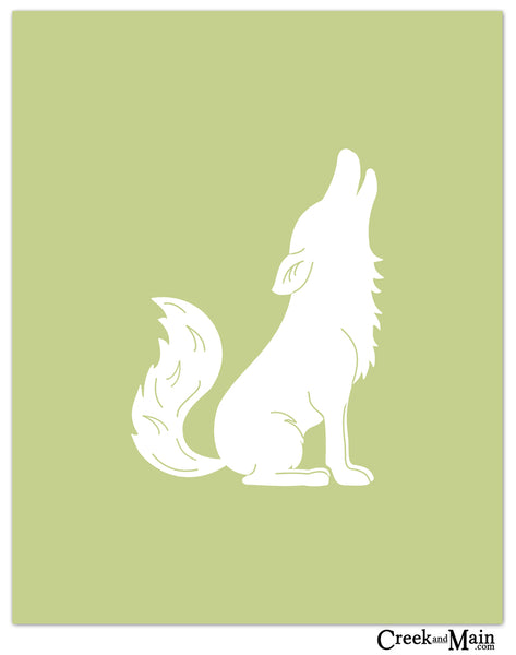 woodland animal, coyote nursery art