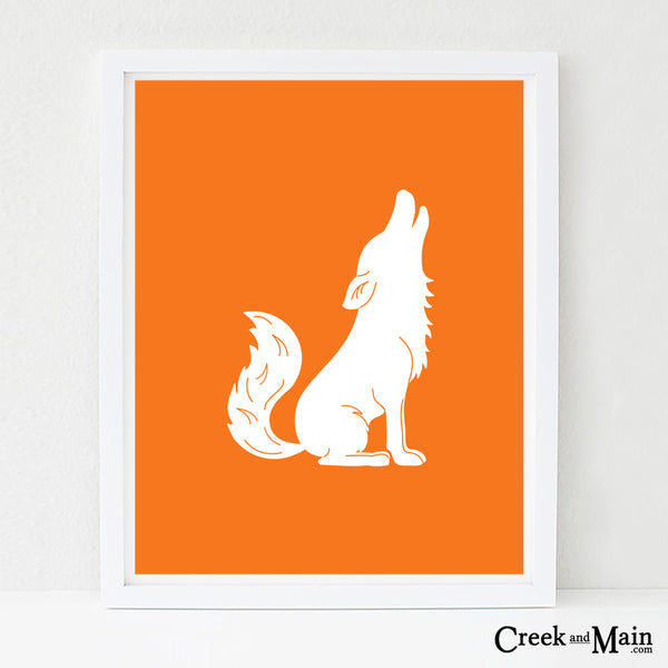 printable woodland nursery art, coyote wall art