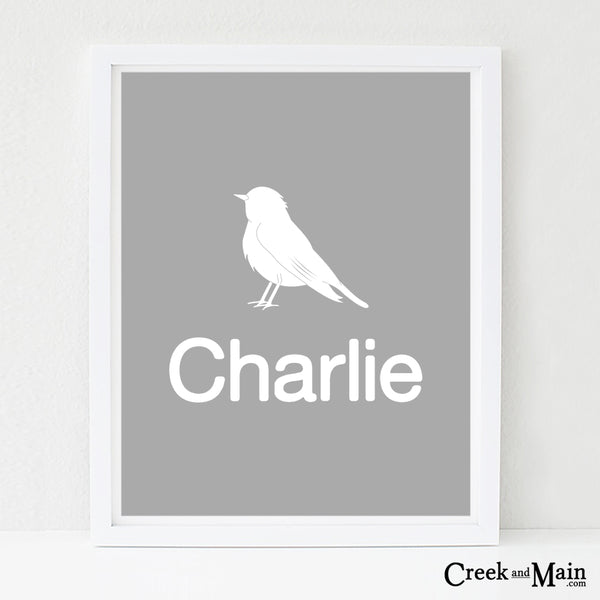 woodland nursery art, custom name bird art