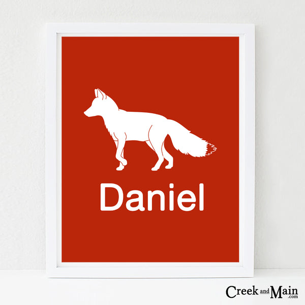custom name woodland nursery art, Fox wall art