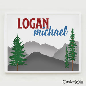 custom mountain sign, nursery decor