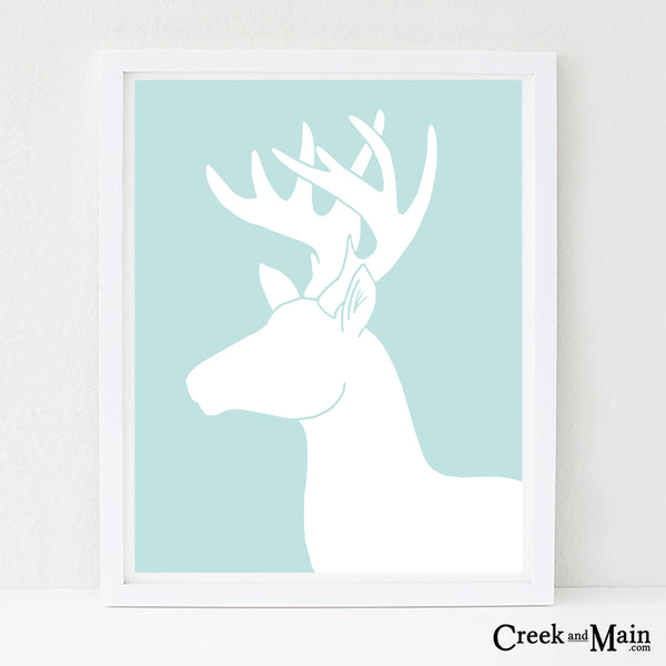 deer nursery art, woodland animal wall art