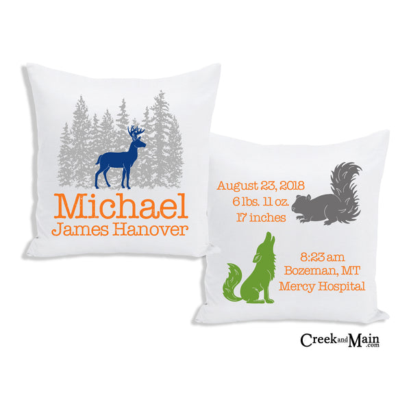deer birth stat pillow, woodland decor
