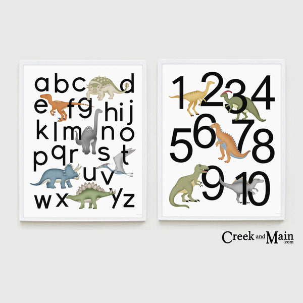 Dinosaur nursery, alphabet and number poster