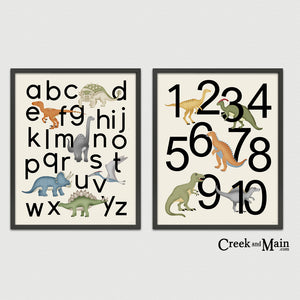 Printable Dinosaur and Number Poster Set