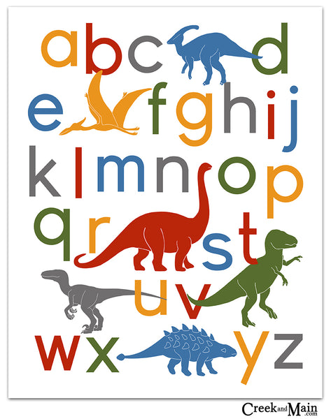 dinosaur alphabet, nursery decor