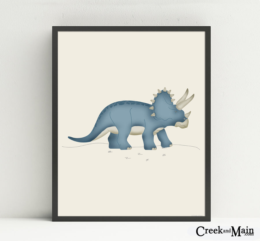 Nursery decor, dinosaur art print, triceratops