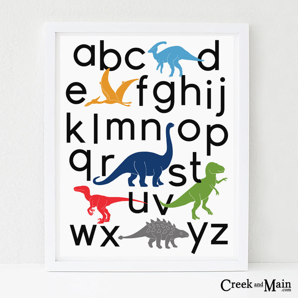 printable dinosaur wall art, alphabet poster