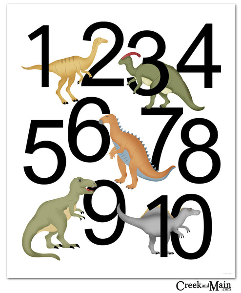 Dinosaur number poster, dinosaur decor