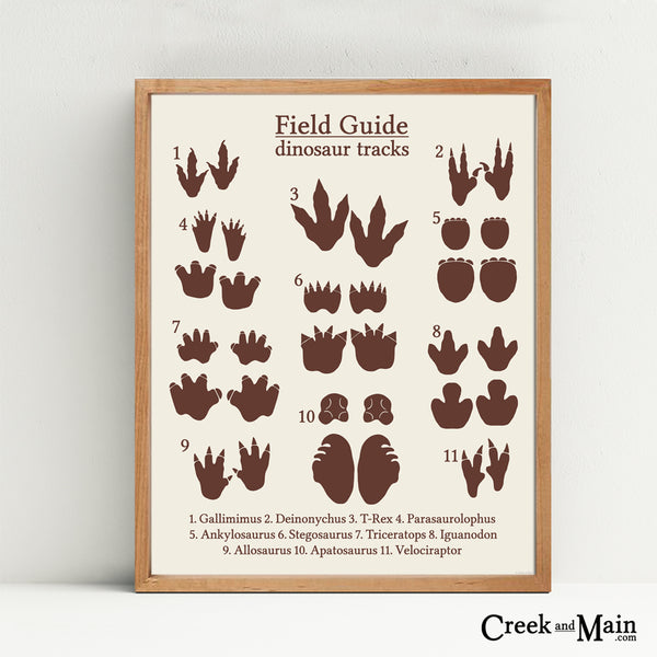 dinosaur decor, dinosaur tracks poster