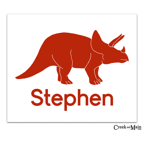 personalized dinosaur art, printable triceratops