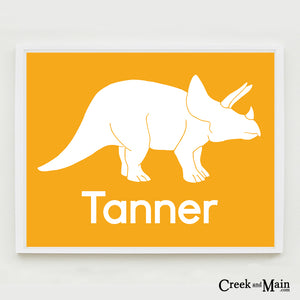 Triceratops wall art, Printable personalized nursery art