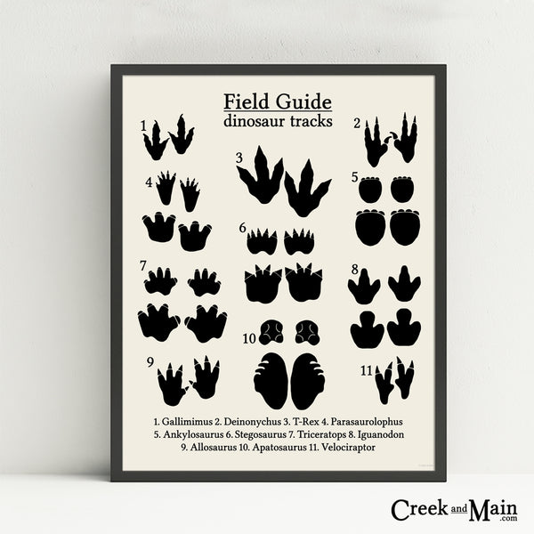 dinosaur tracks wall art, animal tracks