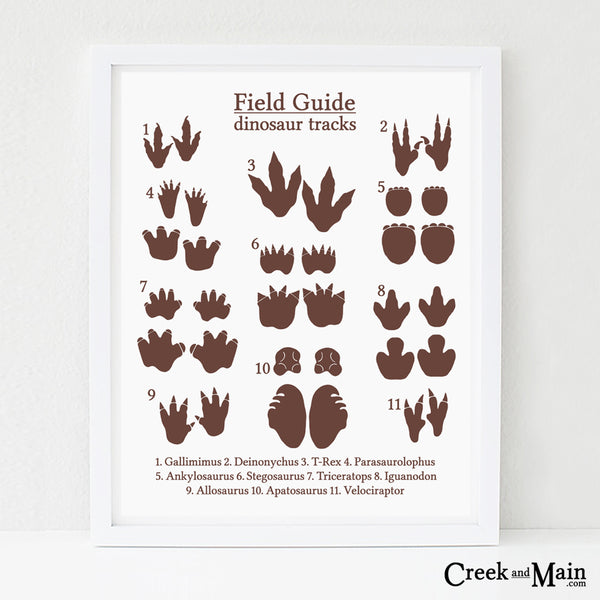 printable dinosaur tracks poster, nursery art