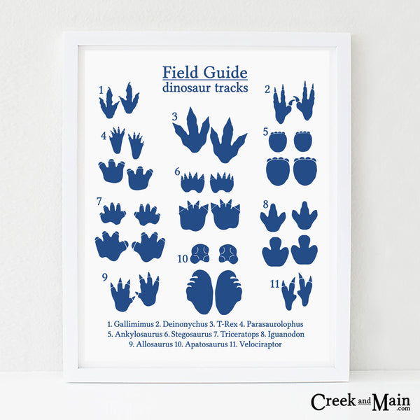 kids dinosaur bedroom decor, dinosaur tracks poster