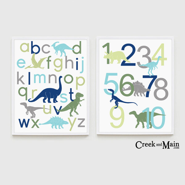Dinosaur alphabet, number poster, dinosaur decor