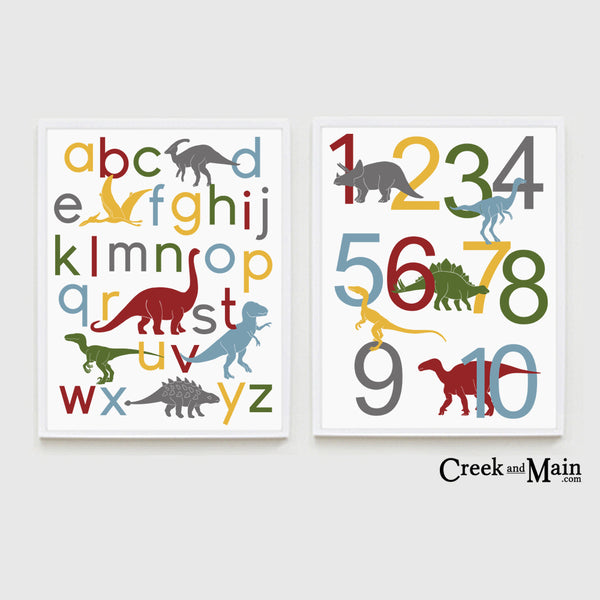 Dinosaur nursery art, alphabet, number poster