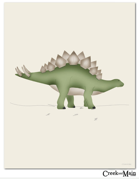 Dinosaur art print, nursery decor, Stegosaurus