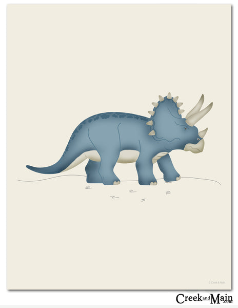 Triceratops wall art, dinosaur nursery, bedroom decor