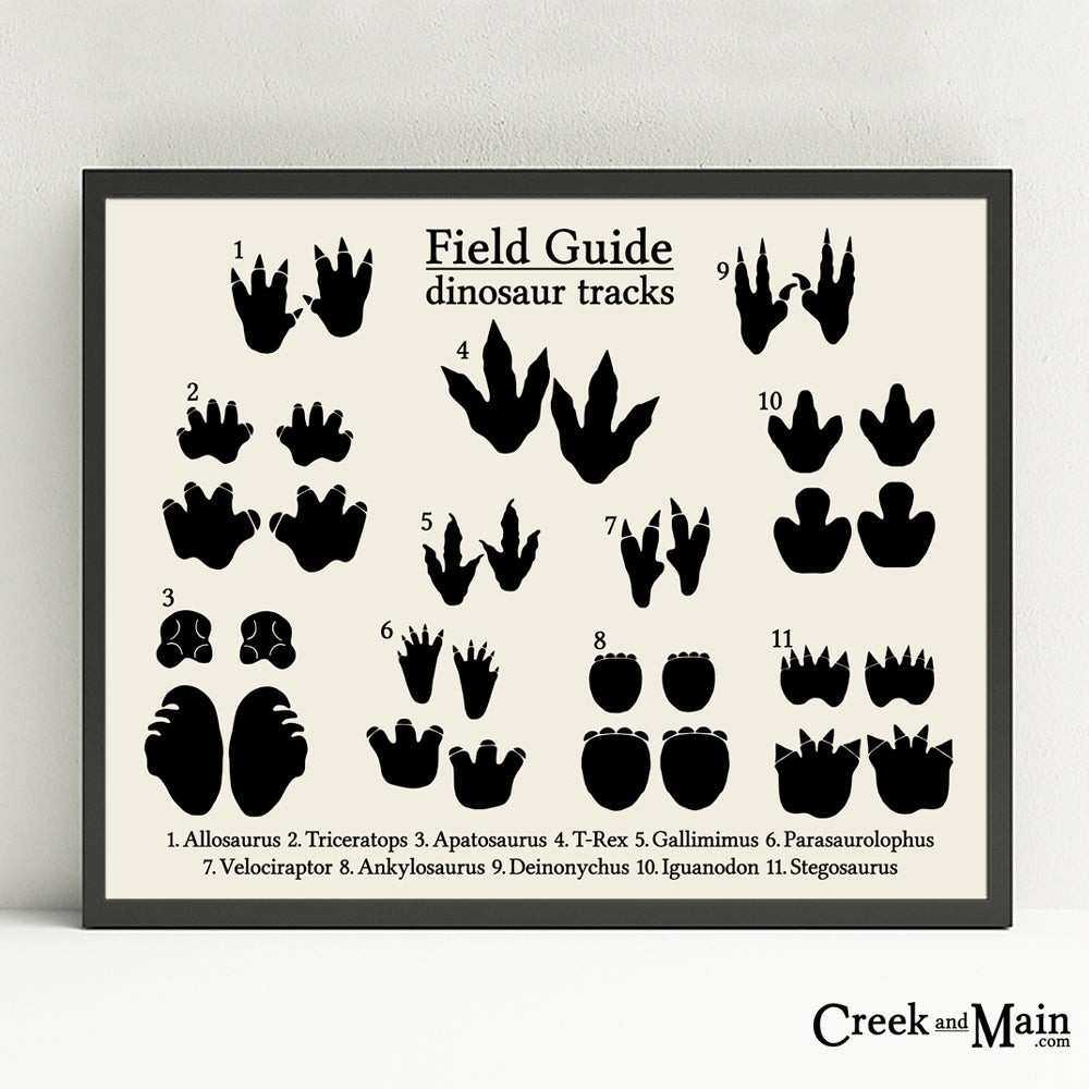 dinosaur tracks poster, printable nursery art