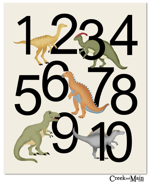 Dinosaur poster, number wall art