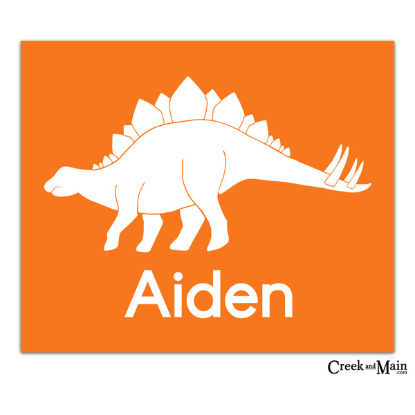 printable dinosaur wall art, stegosaurus, custom name