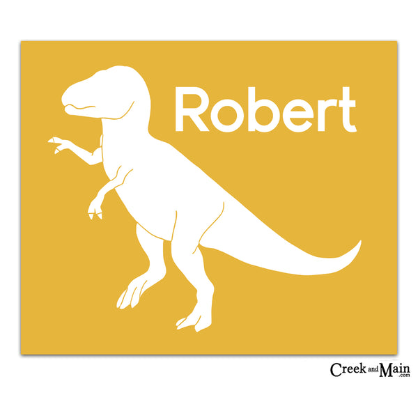 Personalized nursery art, dinosaur custom print