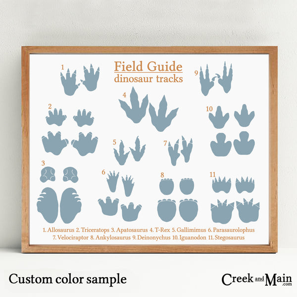 dinosaur tracks poster, custom colors
