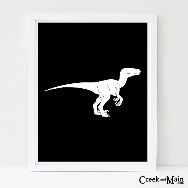 Velociraptor wall art, nursery art