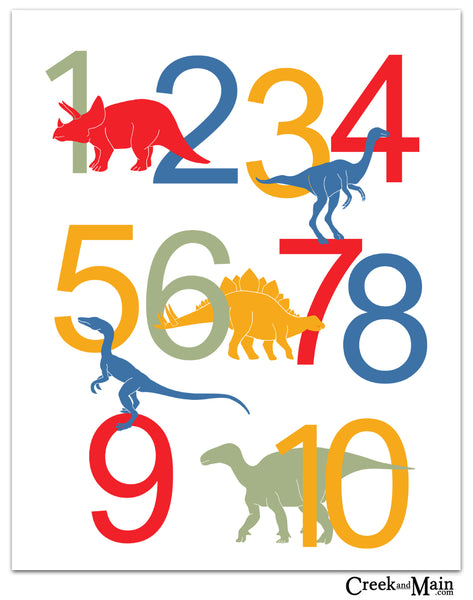 Dinosaur Alphabet and Number Wall Art