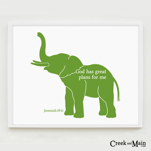 Elephant Nursery Art - Bible Verse