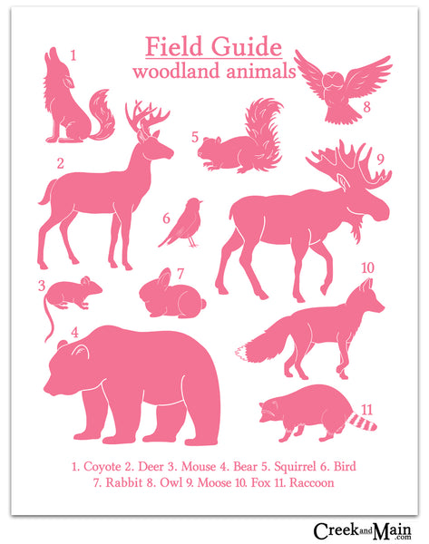 woodland nursery, pink wall art