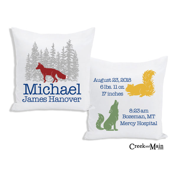 fox birth stat pillow, baby gift