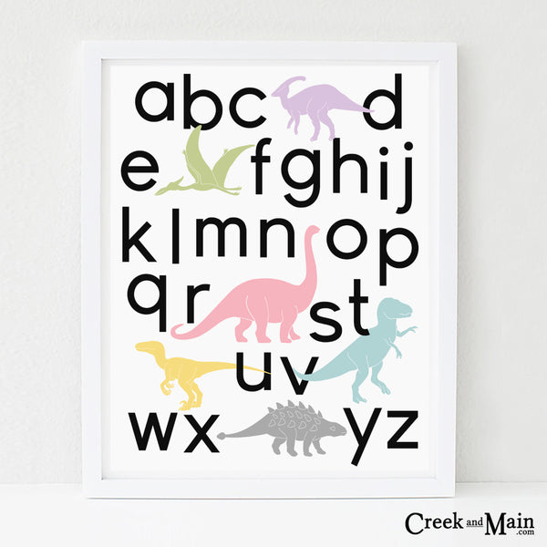 girls dinosaur wall art, printable alphabet poster