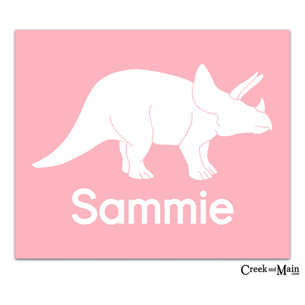 girls printable dinosaur wall art, personalized dinosaur print