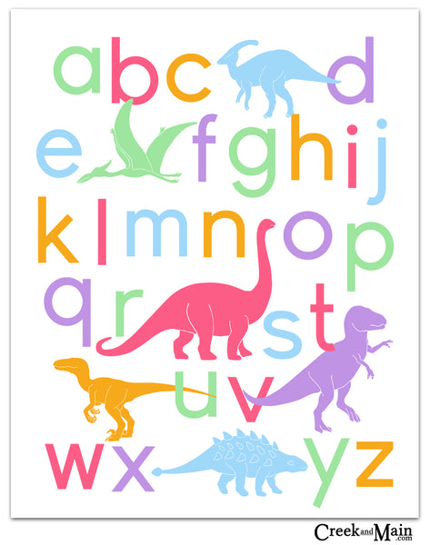 girls dinosaur wall art, alphabet poster